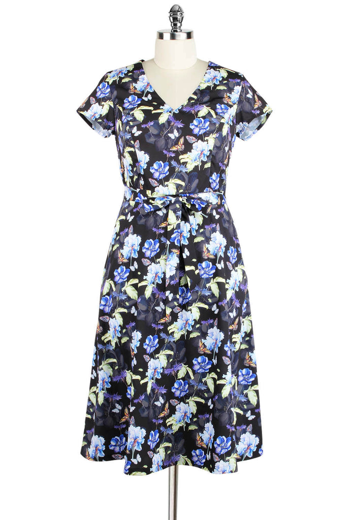 Elyzza London Plus Size Floral Print Flare Dress with Belt