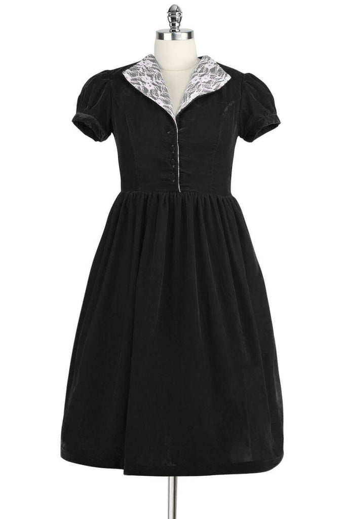 Elyzza London 1950s Black Velvet Flare Dress