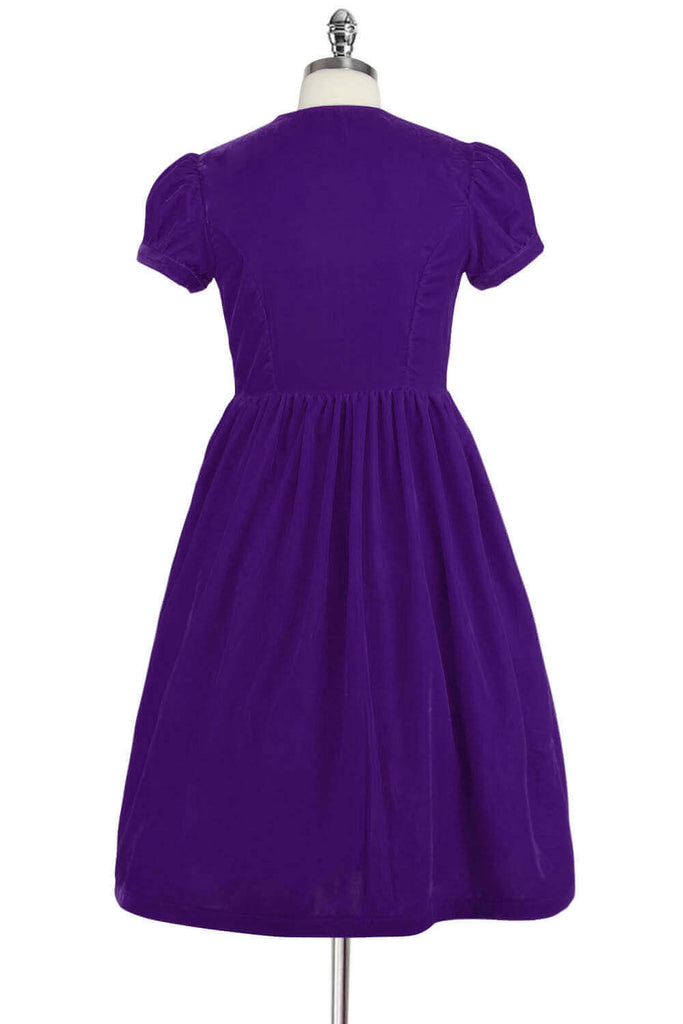 Elyzza London 1950s Purple Velvet Flare Dress