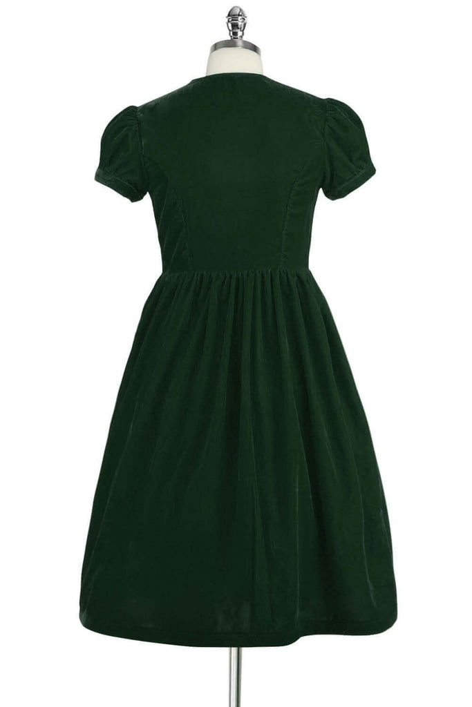 Elyzza London 1950s Green Velvet Flare Dress