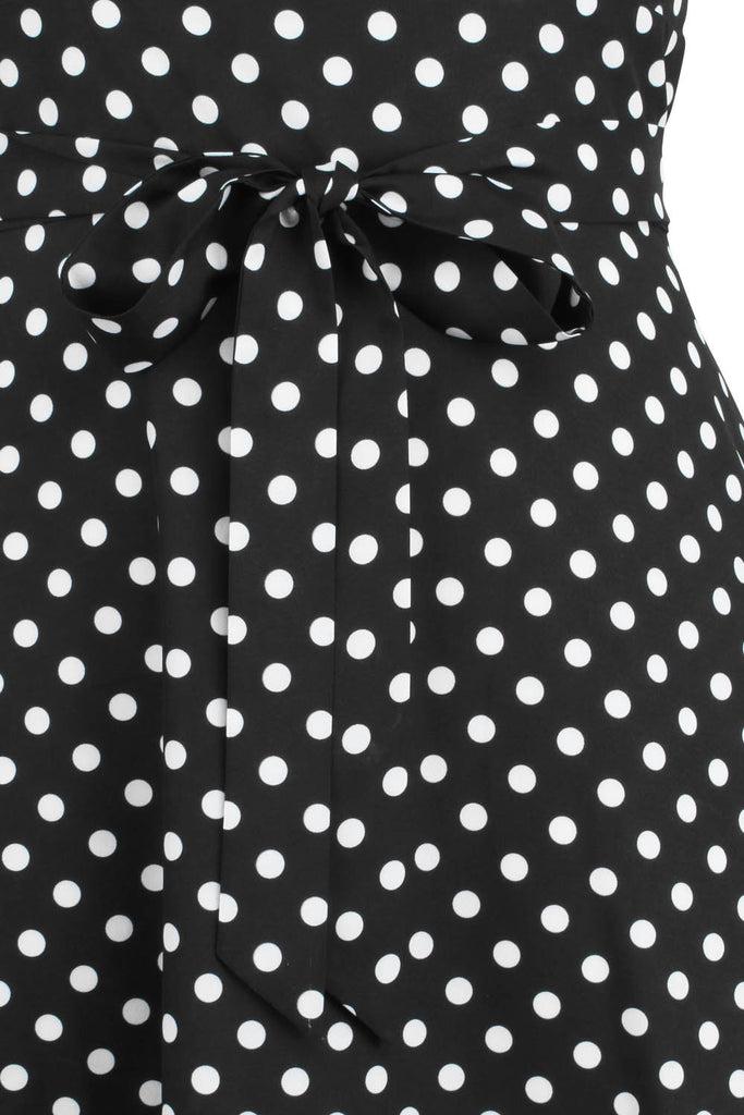 Elyzza London 1950s Style Plus Size Sleeveless Polka Print Dress