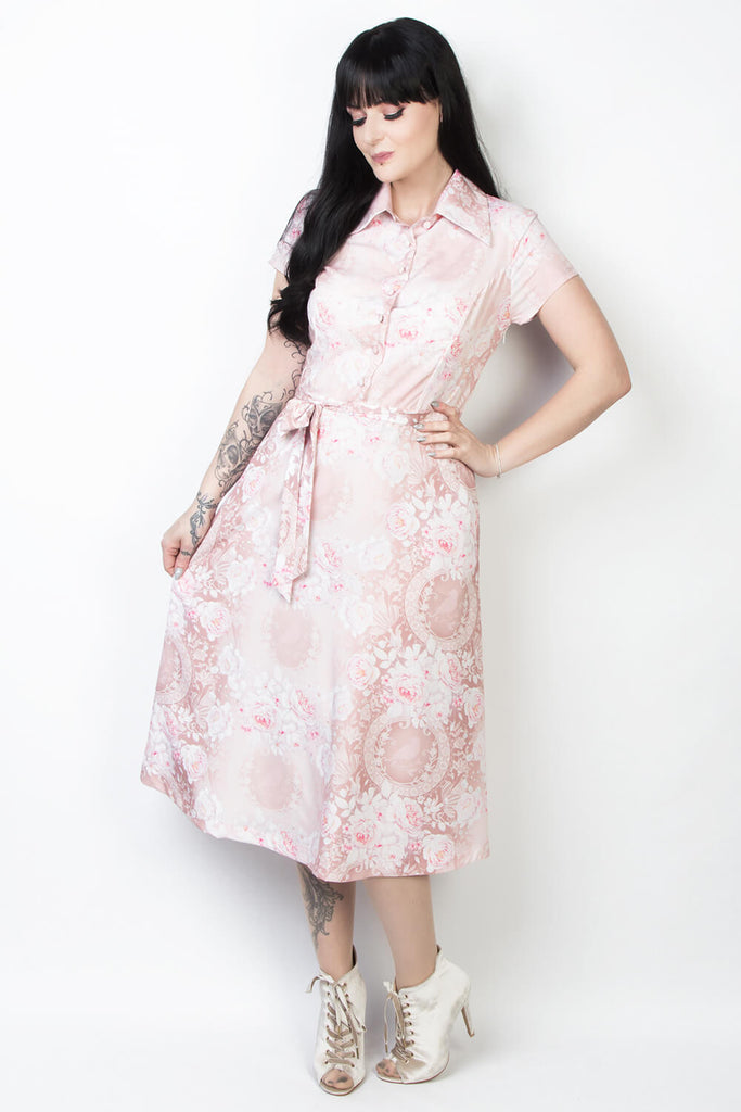 Elyzza London Plus Size Floral Print Collar Flared Dress