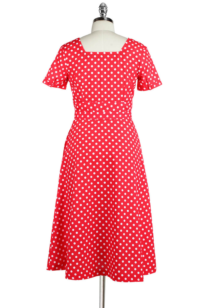 Elyzza London 1950s Style Plus Size Polka Print Square Neck Dress