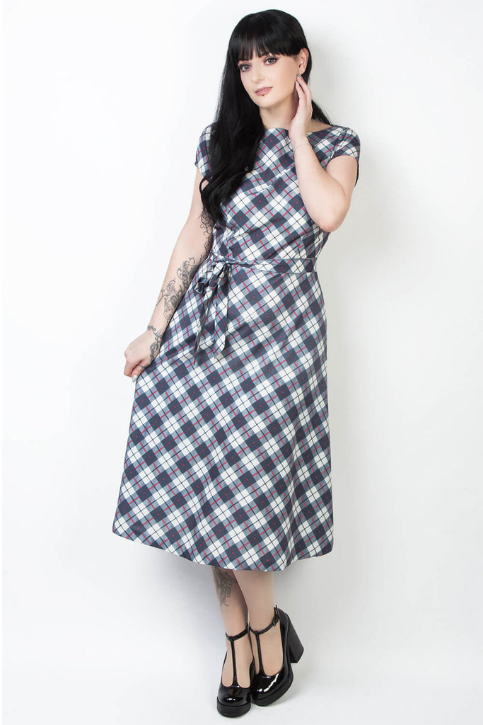 Elyzza London Plus Size Plaid Print Fit and Flare Dress