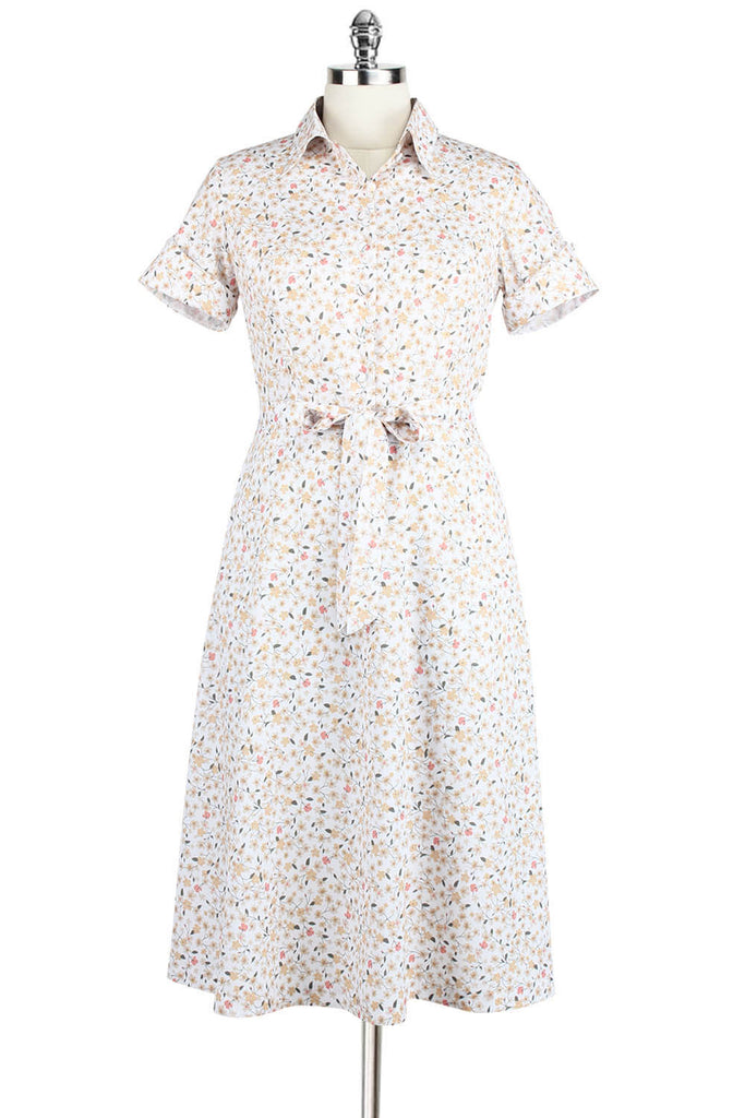 Elyzza London Floral Print Collared Flare Dress