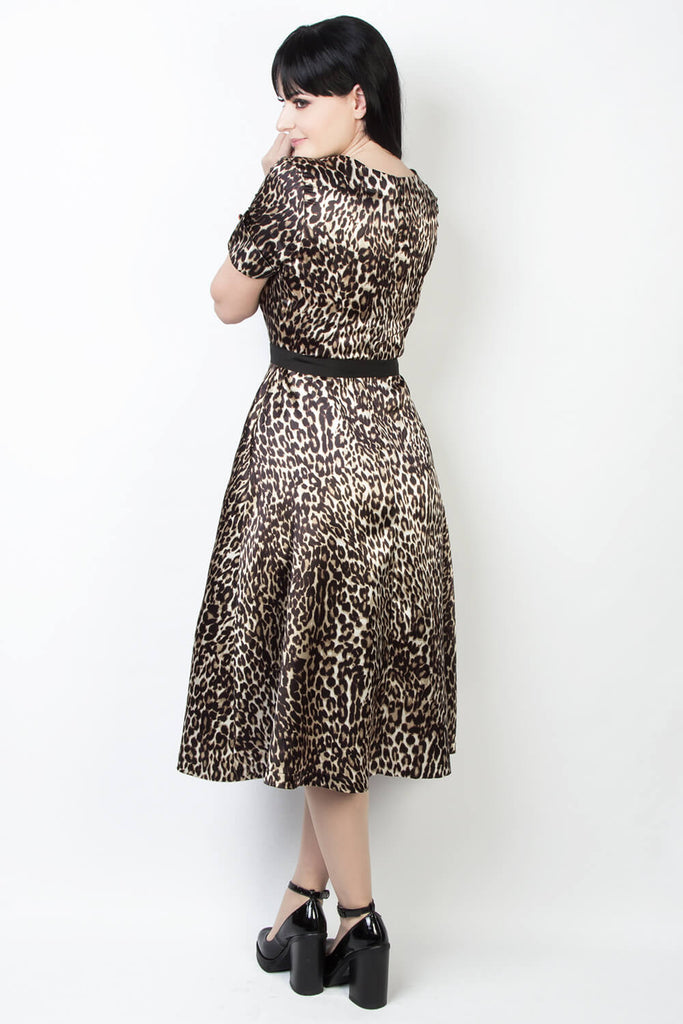 Elyzza London Plus Size Leopard Print Flare Dress