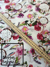 Adeline Bohemian Floral Fabric with dreamcatchers