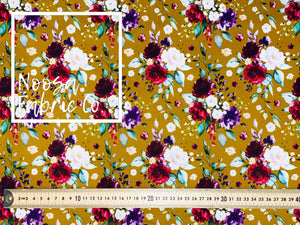 "Genevieve 'Mustard"" SMALL SCALE Woven Digital Print Fabric"