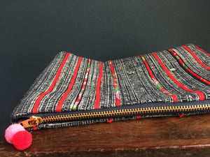 Zipped Pouch, tropical red applique Hmong batik indigo hemp.