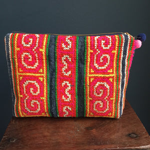 Zipped pouch | Hmong embroidered hand woven indigo hemp