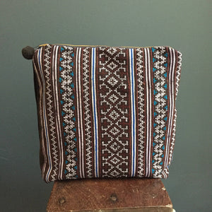 Zipped Pouch | Hmong turquoise maroon and white hand woven indigo hemp