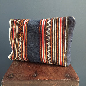 Zipped Pouch | Hmong embroidered hand-woven indigo hemp
