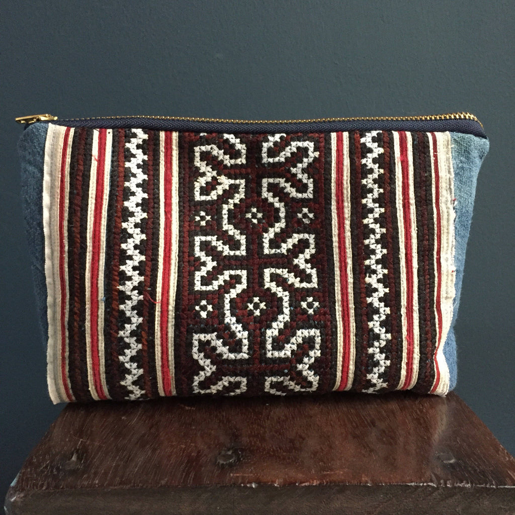 Zipped pouch | tribal pattern, Hmong embroidered textile