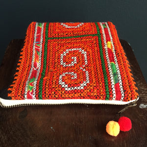 Zipped Pouch, embroidered Hmong textile.