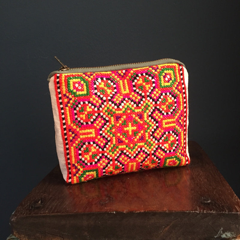 Zipped Pouch | rainbow colours embroidered handwoven hemp