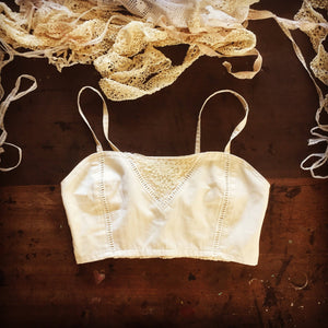Bralette made from 100% Organic natural cotton + antique lace