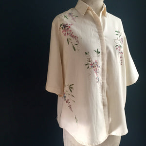 Women's Blouse | hand painted wisteria