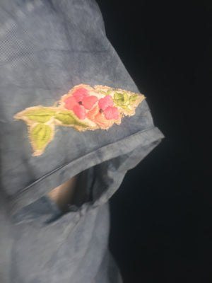 Rockabilly indigo blouse | embroidered flowers