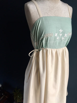 Sage green embroidered Pinafore Dress