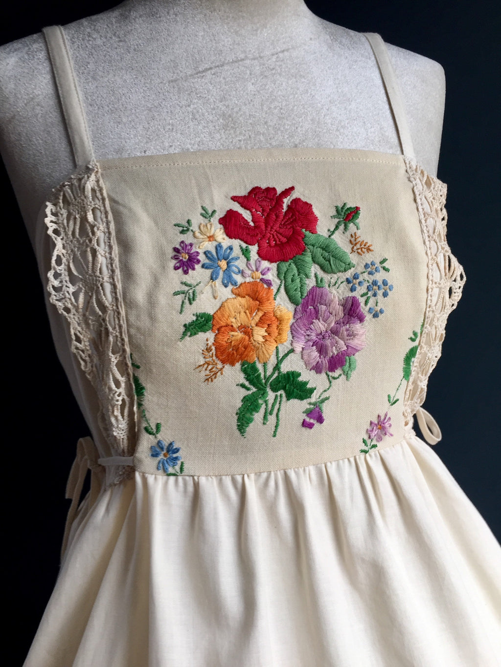 Pinafore Dress | Embroidered wild flowers and rose