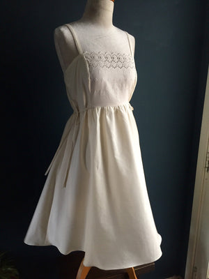 White Embroidered Pinafore Dress