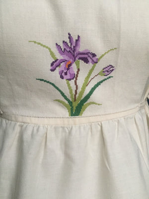 Women's Pinafore Dress Embroidered Iris