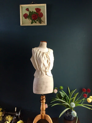 1920s inspired corset cover with vintage lace and certified organic cotton.