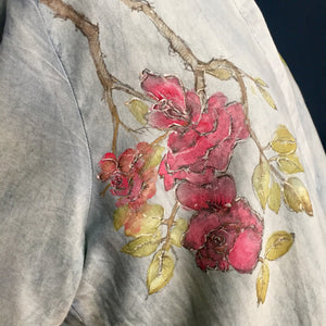 Women's blouse indigo dyed | hand painted roses