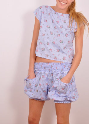BLOOMERS in blue with pink roses