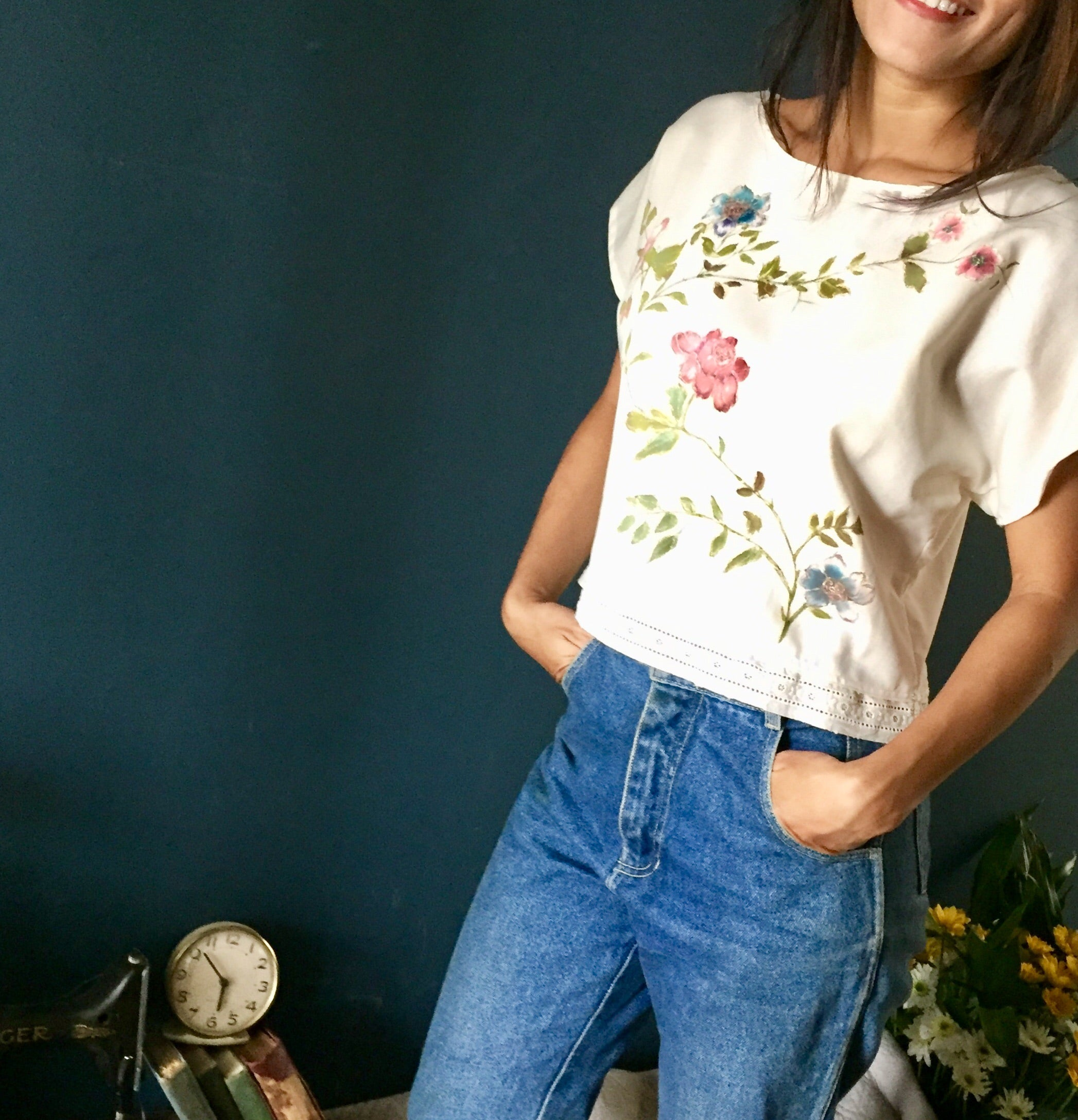 c7903db8a97 Hand painted floral blouse – The old is new again