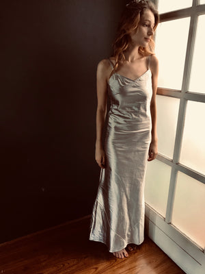 Silver Bias cut evening gown