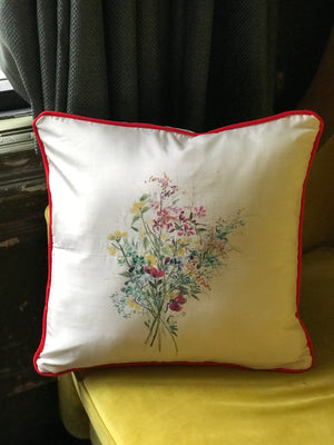 Silk Painted Wild Flowers Cushion Cover