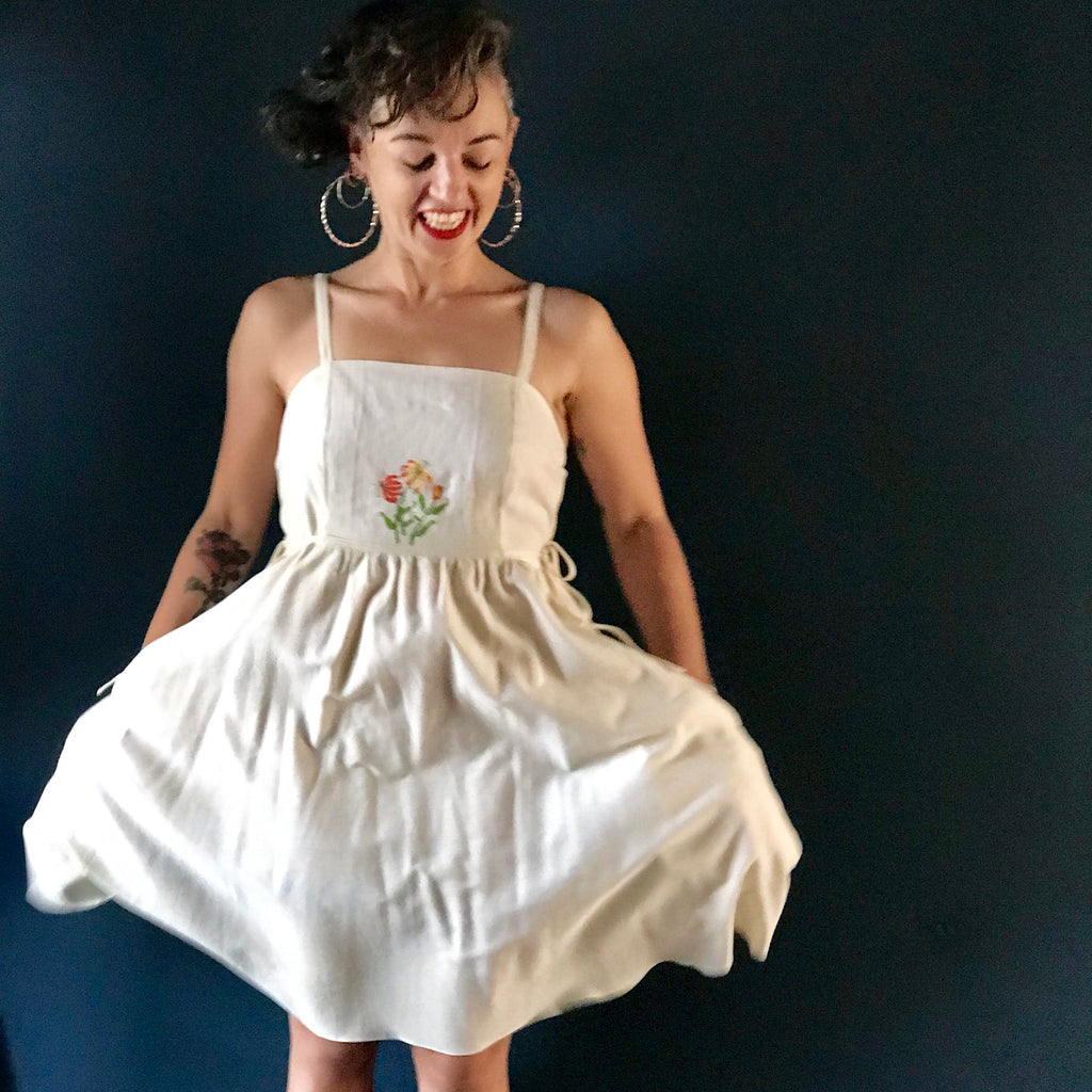 Pinafore Dress | embroidered lily flower