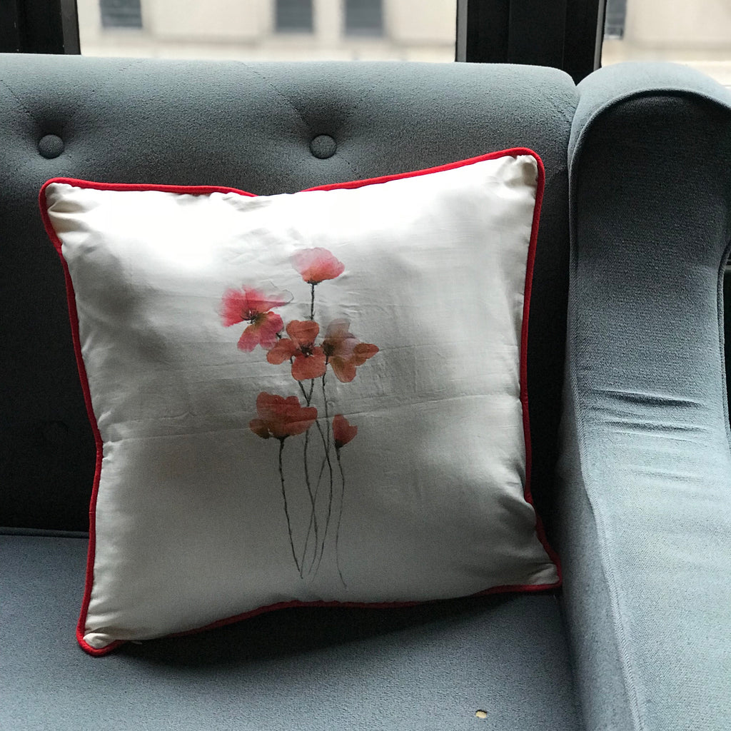 Silk Painted Poppies Cushion Cover