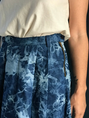 Indigo splash high waisted pleated midi skirt