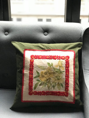 Rose Painted Vintage embroidered cloth cushion cover