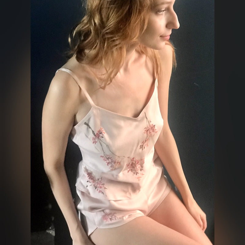 Rose sand wash hand-painted silk lingerie set