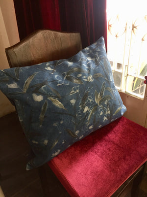 Indigo dyed silk + hand painted cushion cover