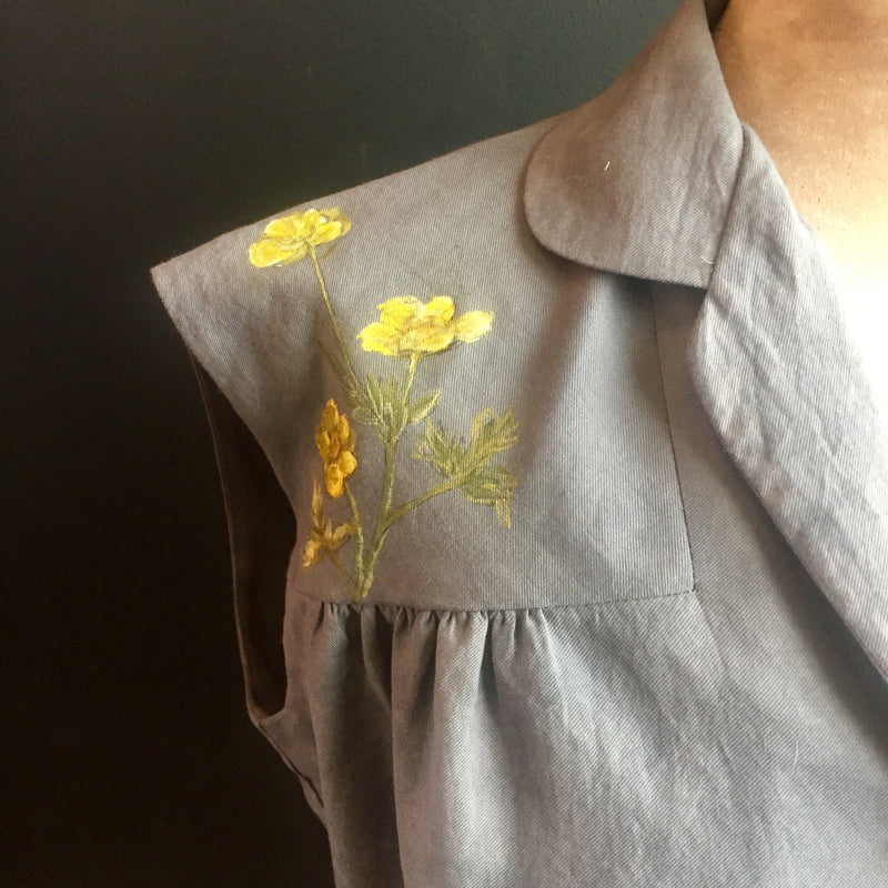 50's pin-up Blouse with hand-painted yellow buttercups