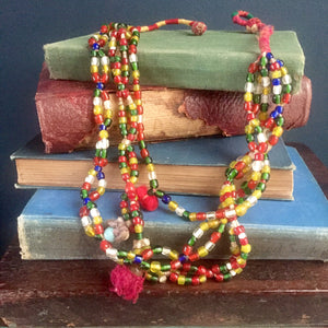 Banjara Gypsy Vintage Beaded Necklace, glass hand-cut beads, green, 3 tiers.