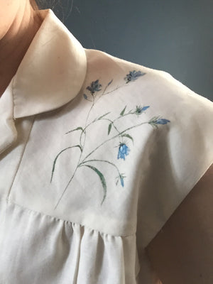 50s hand-stitched blouse with painted harebells