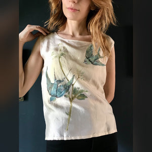 Hand painted swallows silk blouse