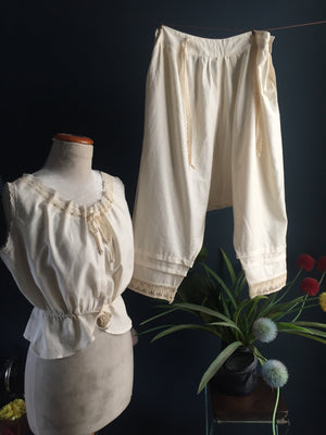 Pyjama set - organic cotton corset cover + bloomers