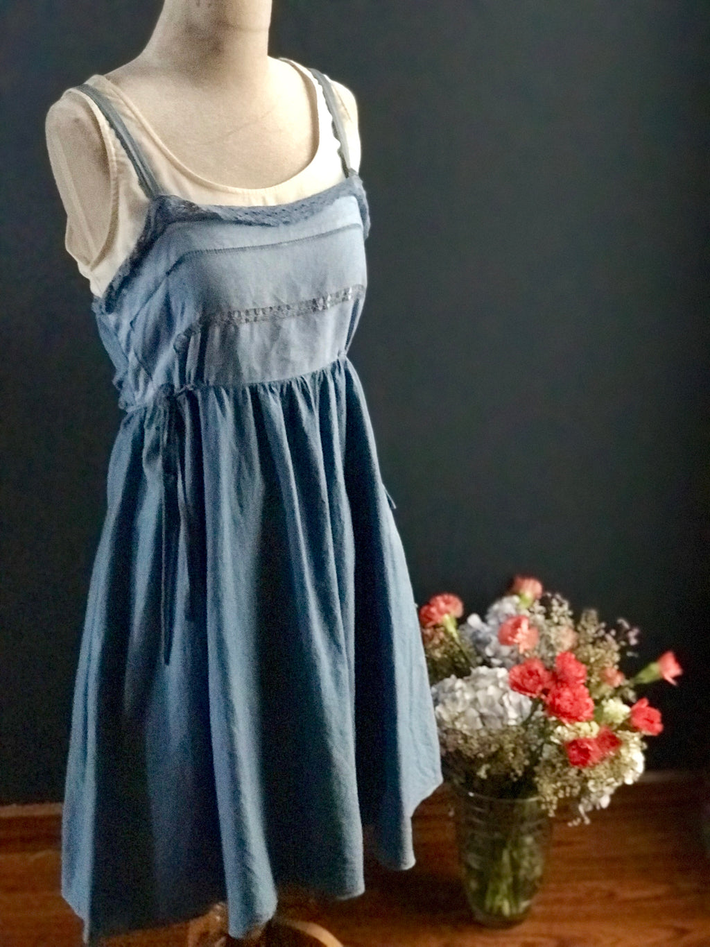 Indigo dyed Pinafore Dress
