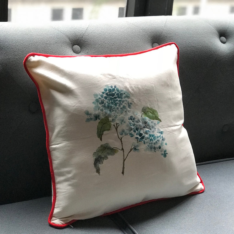 Silk Painted Hydrangeas Cushion Cover