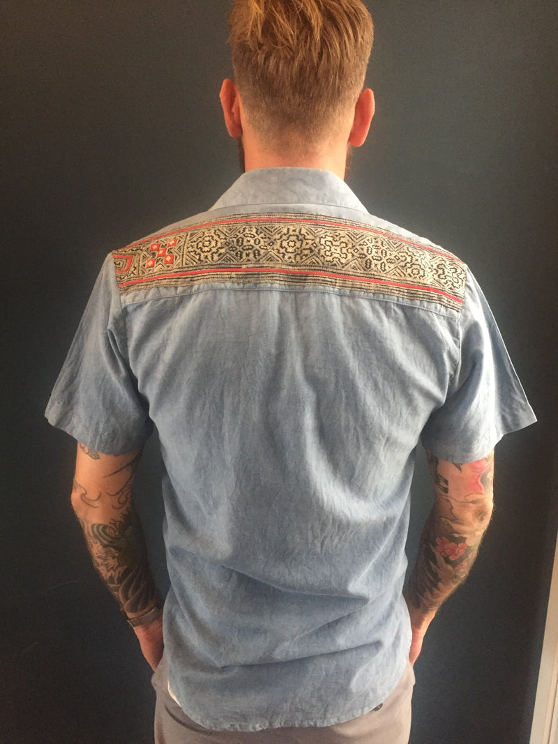 Men's tribal indigo shirt