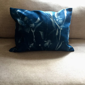 Indigo silk irises painted cushion cover