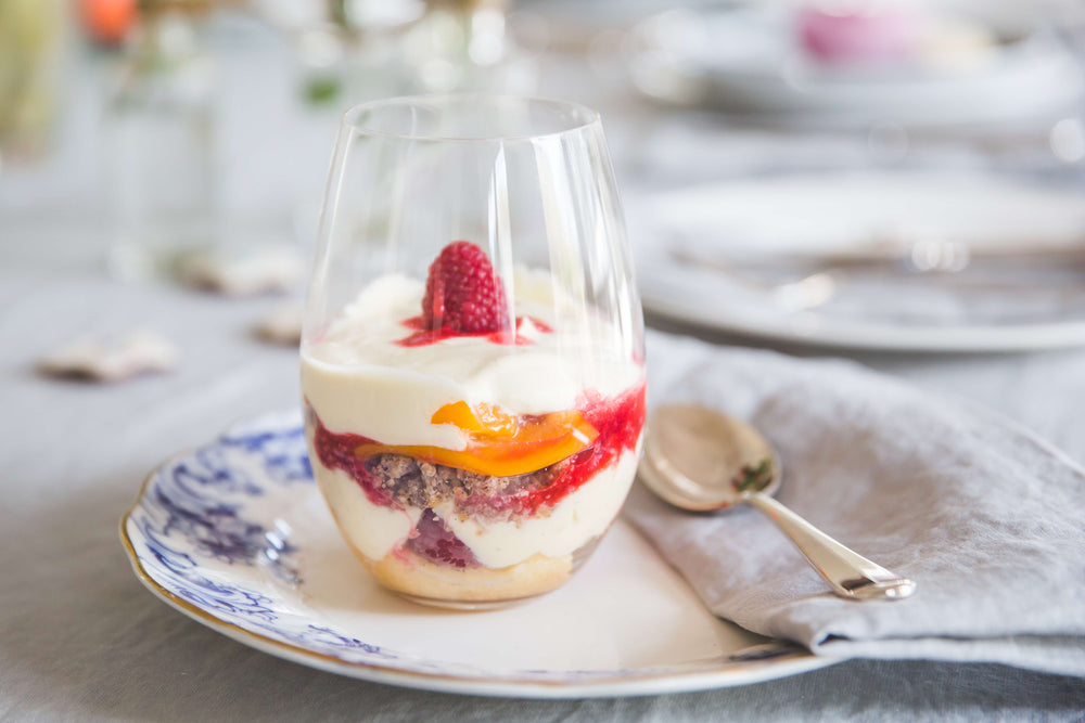 Peach Melba Trifle with Hazelnut Macaroons