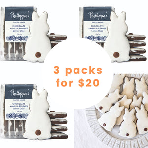 Chocolate Vanilla Bunnies - 3 packs for $20 - Phillippas Bakery