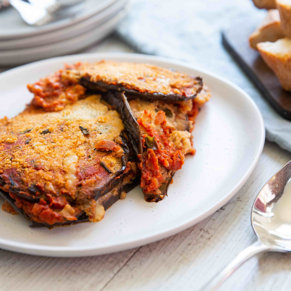 Aubergine (Eggplant) Parmigiana (V) - avail. from 28/10